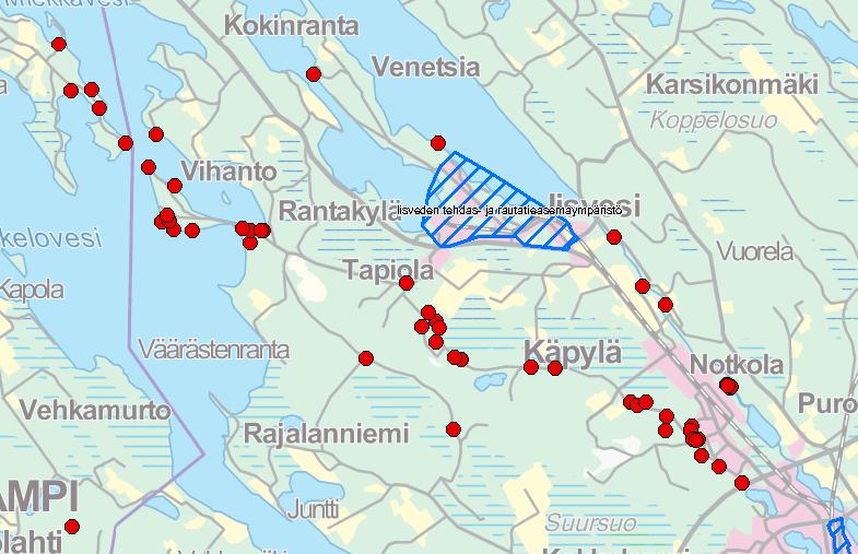 Kartassa näkyy Suonenjoen aluetta. Muinaisjäännöksiä on merkitty punaisella ympäri karttaa.
