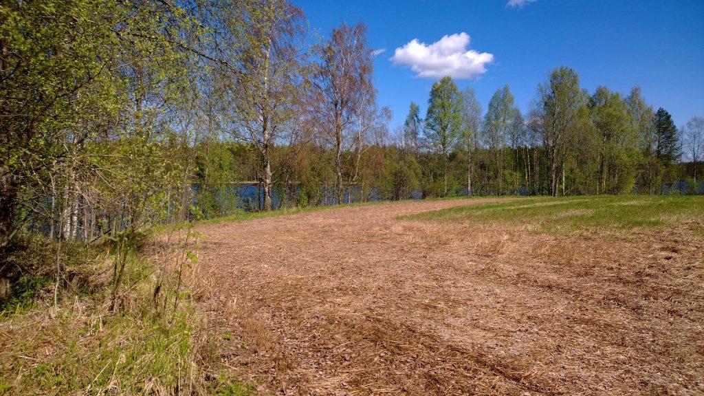 Pellonreuna, taustalla puita ja järvi.