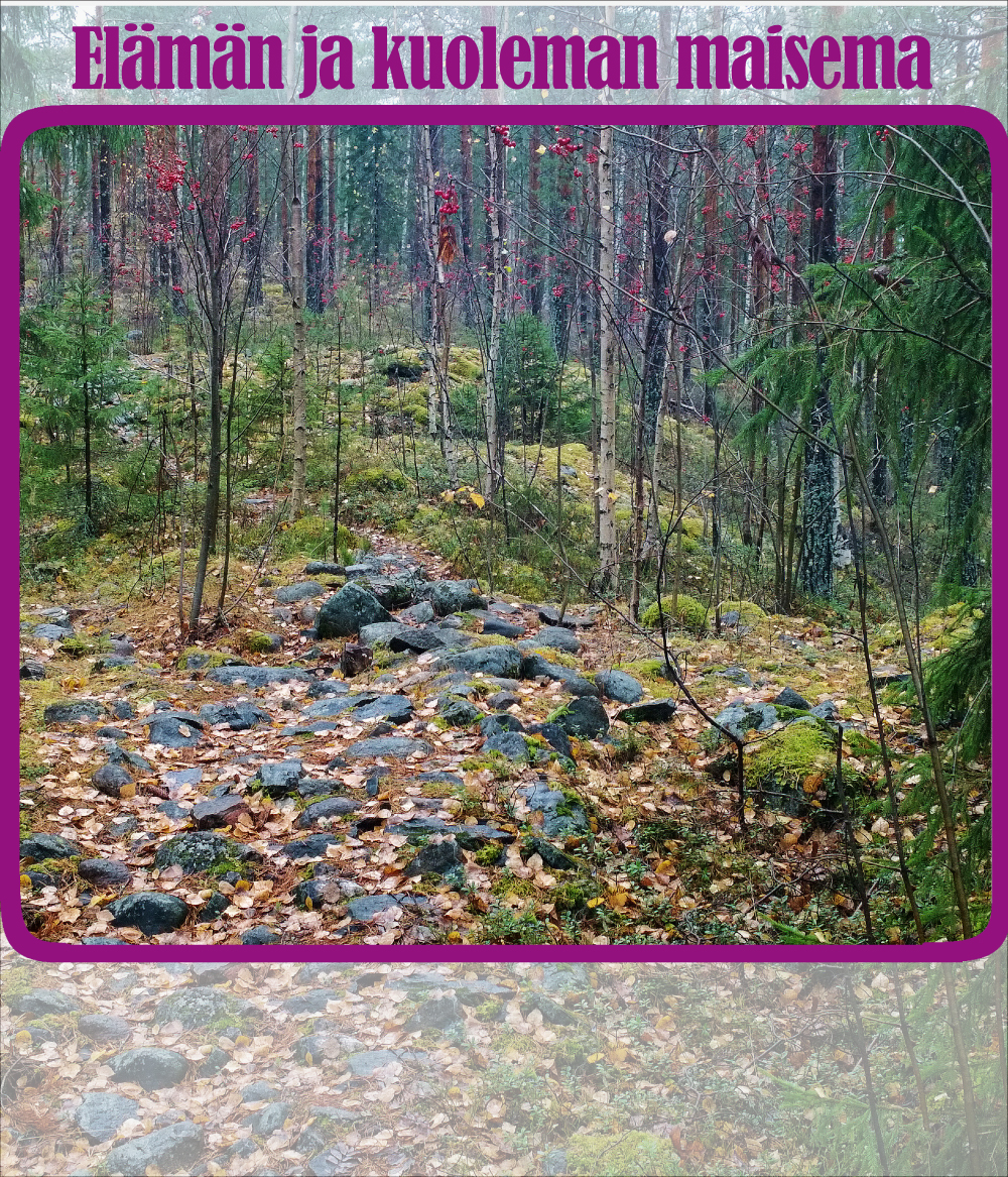 Kiviröykkiö metsässä harjun päällä. Puiden lehdet ja sammal ovat täyttäneet kivien välit.