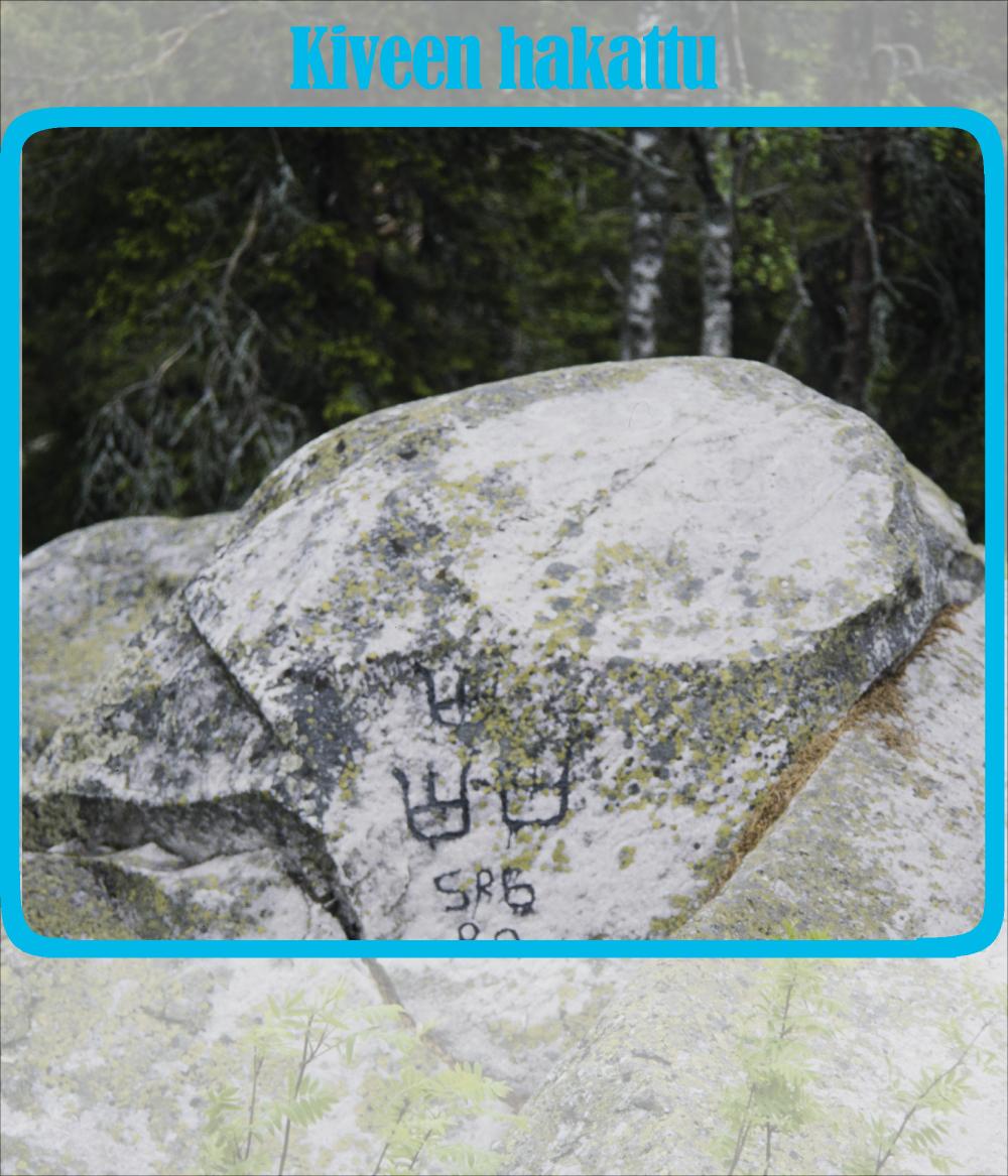 Vaalean harmaa kivi, jossa kaiverrettuna kolme kruunua ja muita merkkejä. Taustalla metsää.