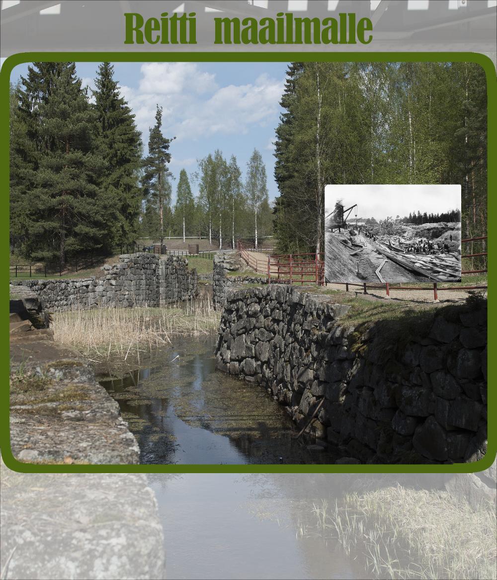 Kuvassa vanha, osin raunioitunut kanava. Luonnonkivi seinämät ja matalalti vettä. Kaislikkoa ja lumpeita vedessä. Reunassa tie ja punainen aita. Kuvan päällä vanha kuva kanavan rakentamisesta.