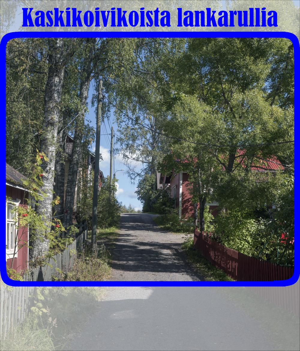 Hiekkatie, joka kulkee punaisten puutalojen välistä. Molemmilla puolilla puiset aidat ja koivikoita.